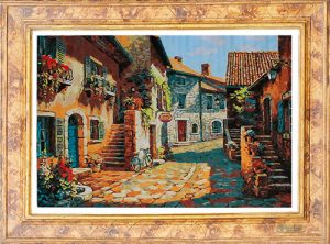 Borgo toscano con cornice per Diamond Painting Italia