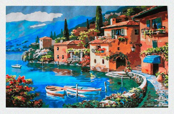 Antico borgo sul lago per Diamond Painting Italia