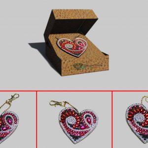 Portachiavi cuore strass ovali per Diamond Painting Italia